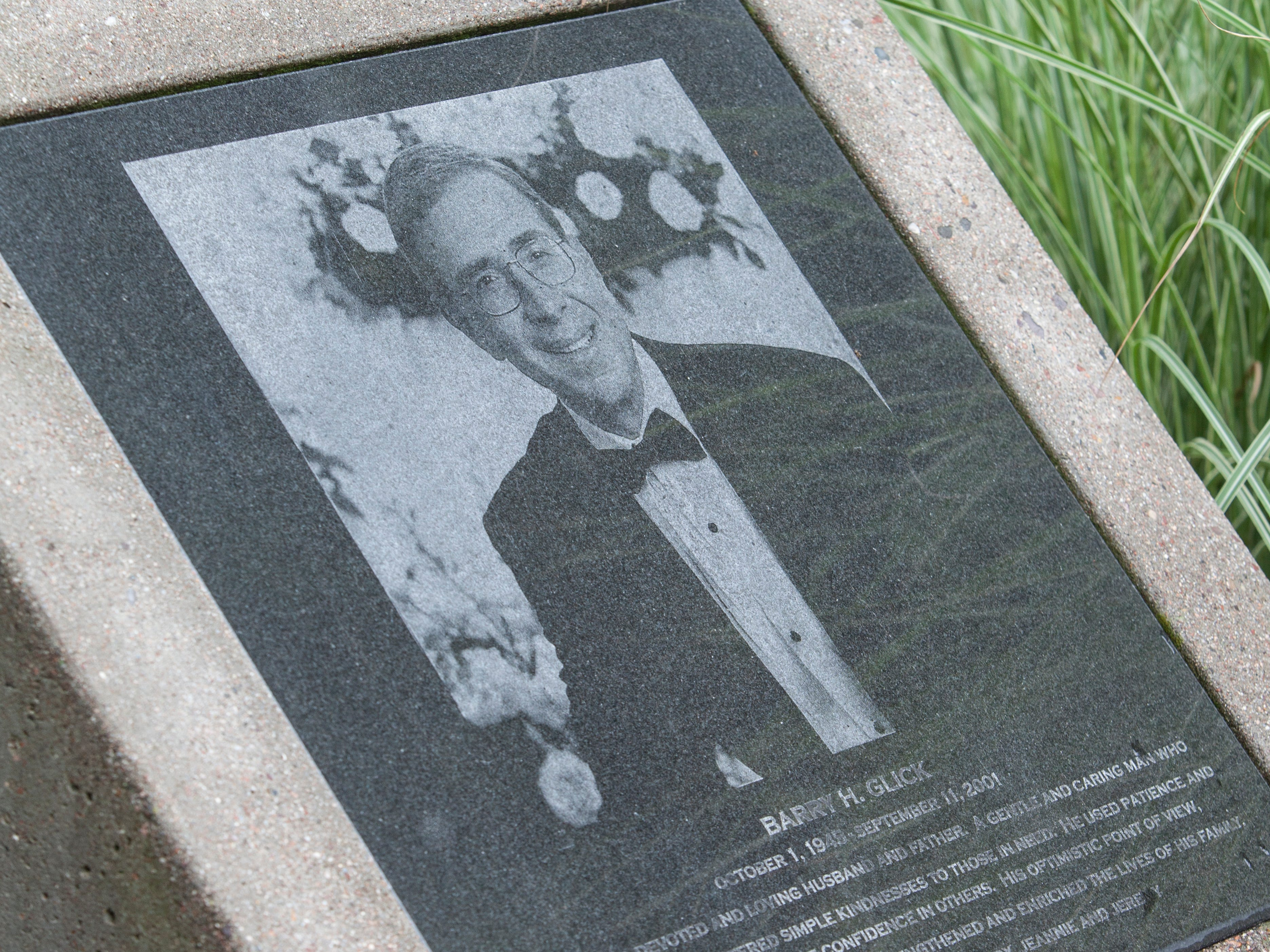 Barry H. Glick is pictured on his memorial at the Wayne library in Wayne.