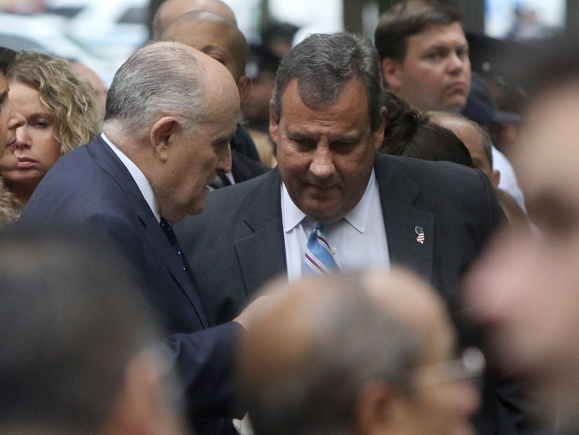 Former NYC Mayor Rudy Giuliani and former NJ Governor Chris Christie prior to the ceremonies at the National September 11 Memorial observing the 17th anniversaryof the attacks that killed people in Manhattan, the Pentagon, Flight 93 and honoring those who died in the 1993 World Trade Center bombing.