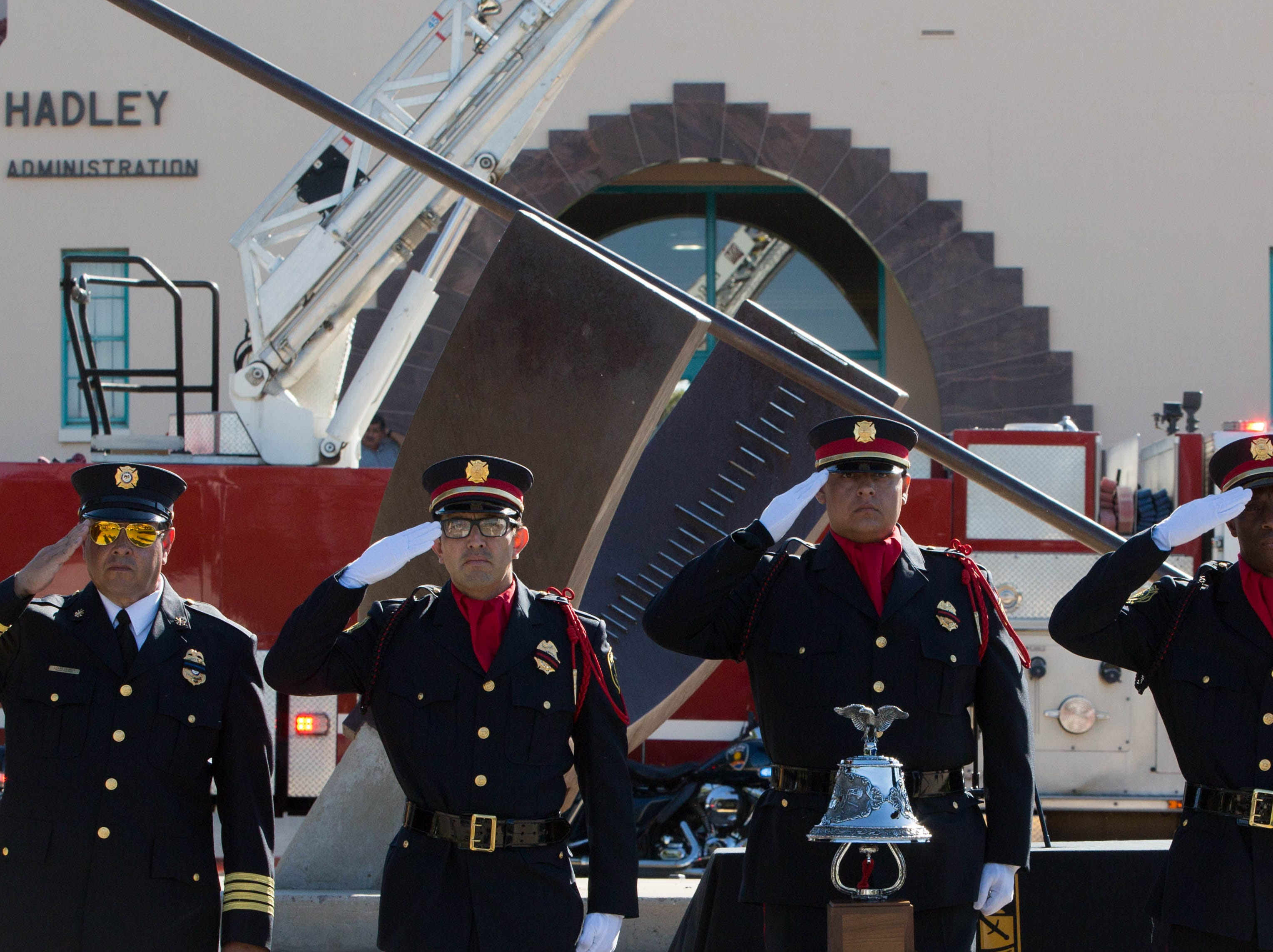 The Las Cruces Fire Department Honor Guard and New Mexico State University Fire Department conduct a bell ceremony, during the Patriot Day ceremony at NMSU, Tuesday, Sept. 11, 2018.
