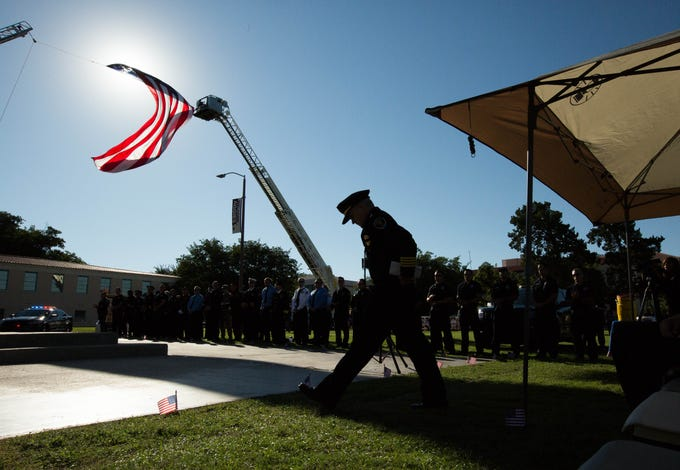 Las Cruces Police Chief Patrick Gallagher walks to the podium to give the keynote address during the Patriot Day ceremony, Tuesday September 11, 2018. The joint ceremony was put together by New Mexico State University and the city of Las Cruces to remember the events of Sept. 11, 2001.