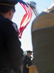 Las Cruces Police Chief Patrick Gallagher gives the keynote address during the Patriot Day ceremony, Tuesday Sept. 11, 2018. The joint ceremony was put together by New Mexico State University and the city of Las Cruces to remember the events of Sept. 11, 2001.