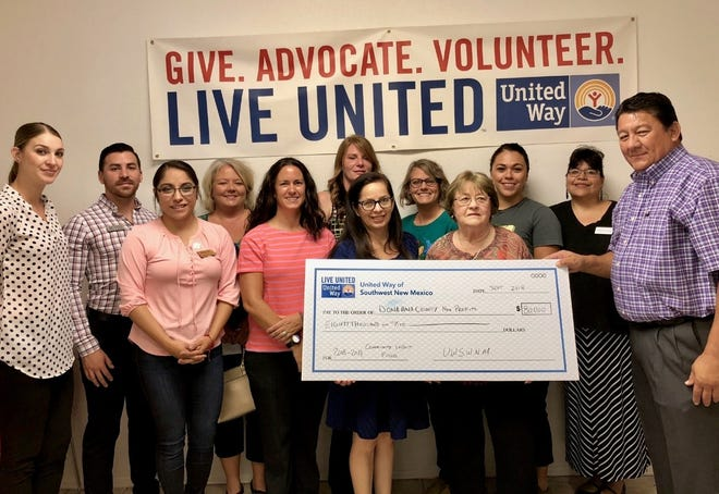 United Way of Southwest New Mexico presents a check for $80,000 to Doña Ana County nonprofits.