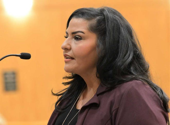 Amanda López Askin speaks at the Doña Ana County Commission meeting Tuesday, Sept. 11, 2018. Commissioners selected Askin, a mental health advocate, from among 14 candidates to become Doña Ana County clerk.
