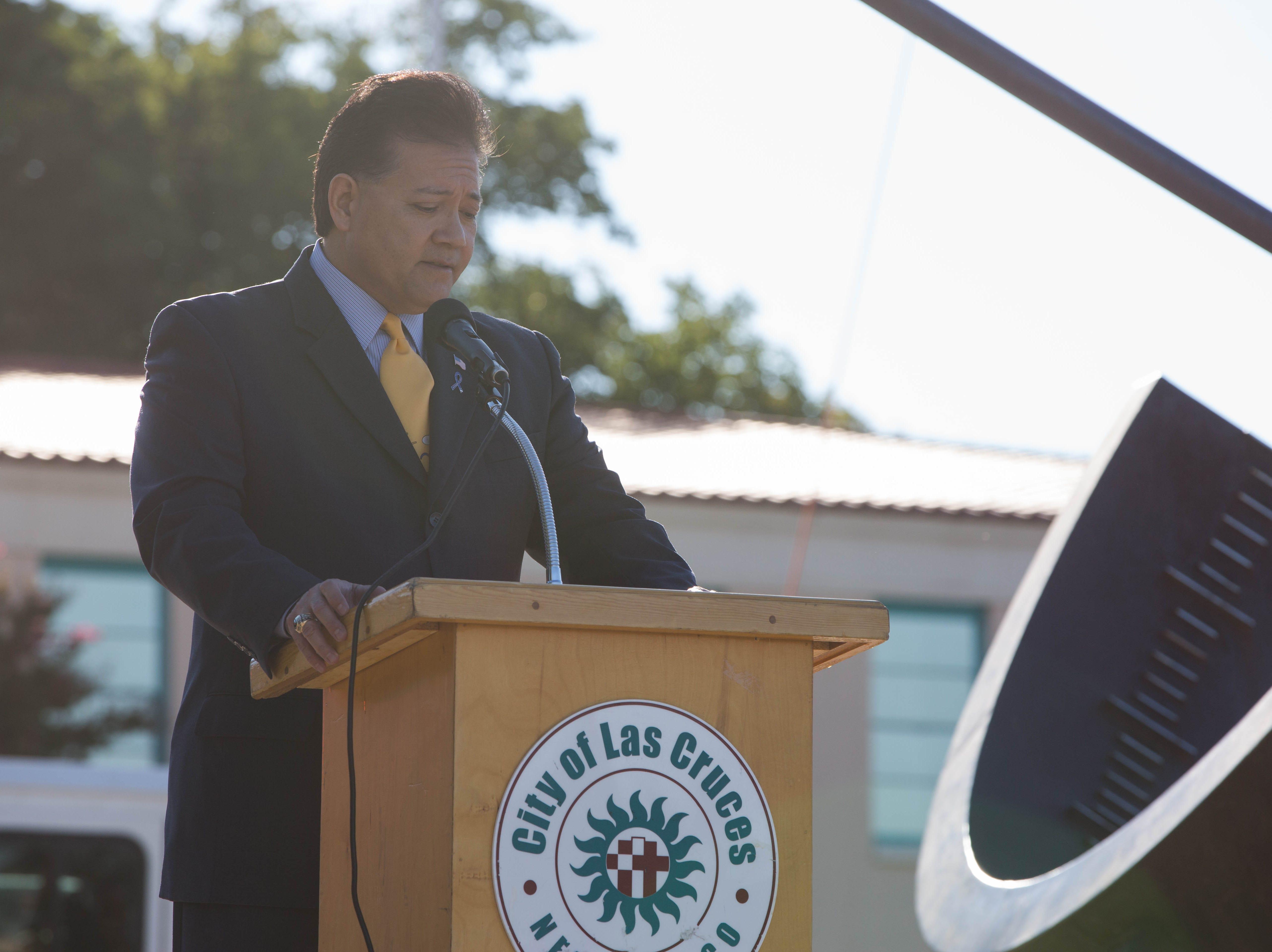Las Cruces Mayor Ken Miyagishima speaks at the Patriot Day ceremony Tuesday, Sept. 11, 2018.