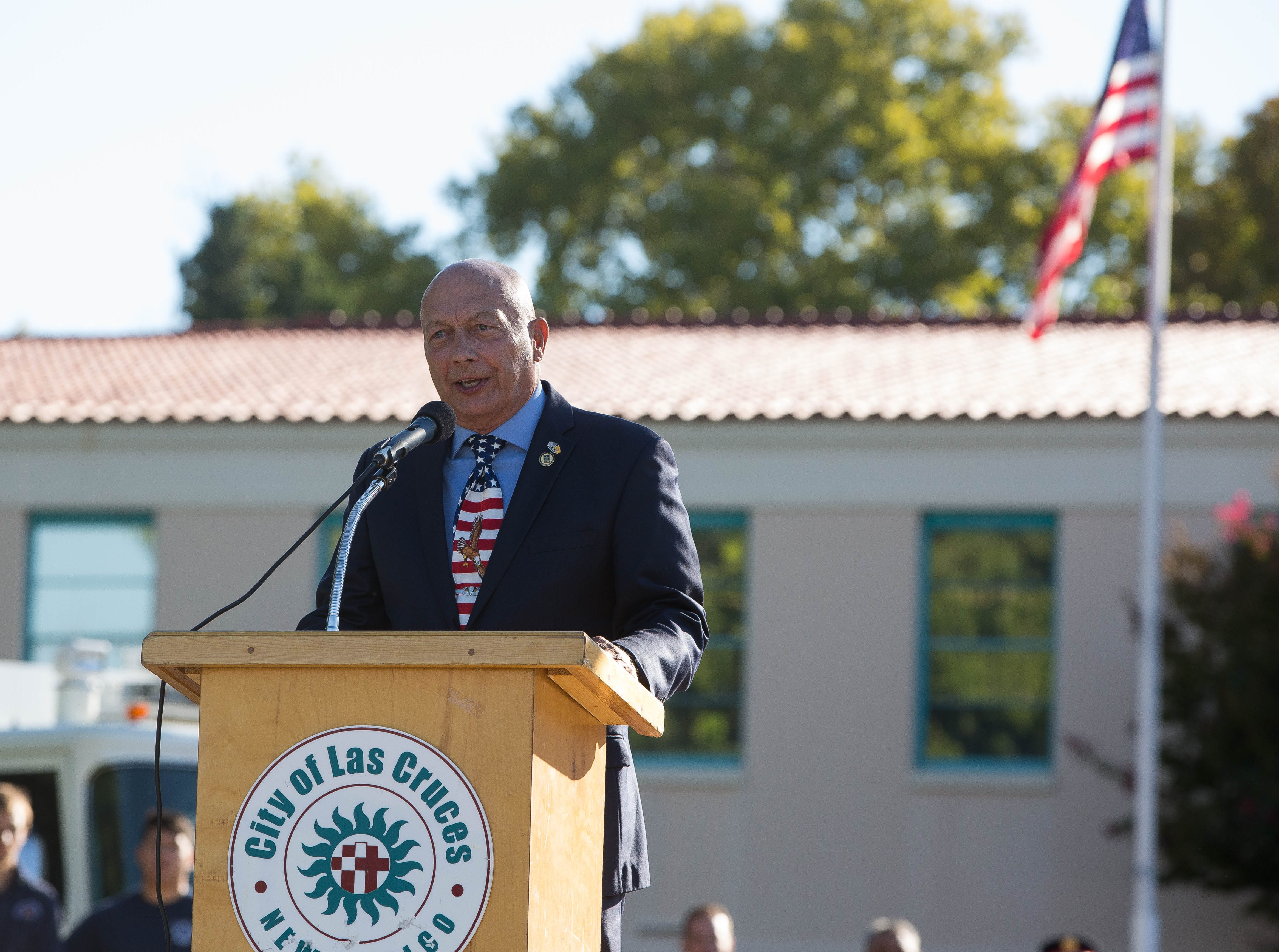 Jack Fox, New Mexico Department of Veterans' Services secretary, speaks at the Patriot Day cermony, Tuesday Sept. 11, 2018.