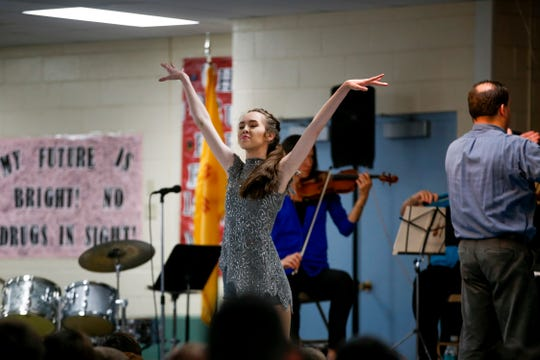 Tiana Winer dances Tuesday during a Young Audiences concert at Park Avenue Elementary School in Aztec.