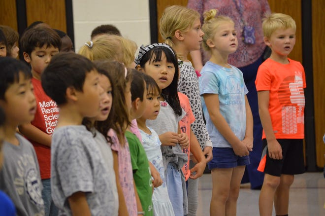 Students sang a song for their special guests.