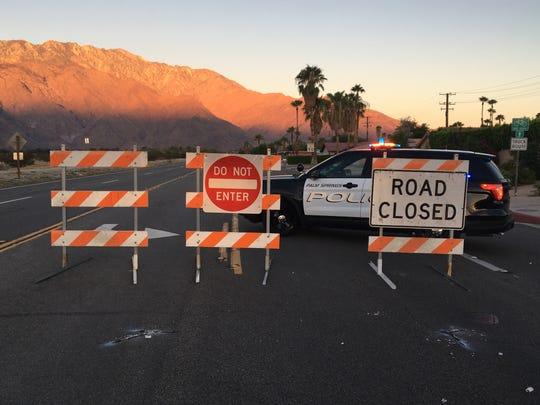 A portion of Vista Chino is closed indefinitely in Palm Springs as of Tuesday morning.