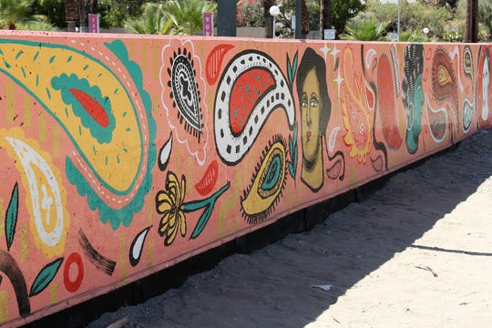 Las Tías mural at the Palm Springs Art Museum was completed in a week.