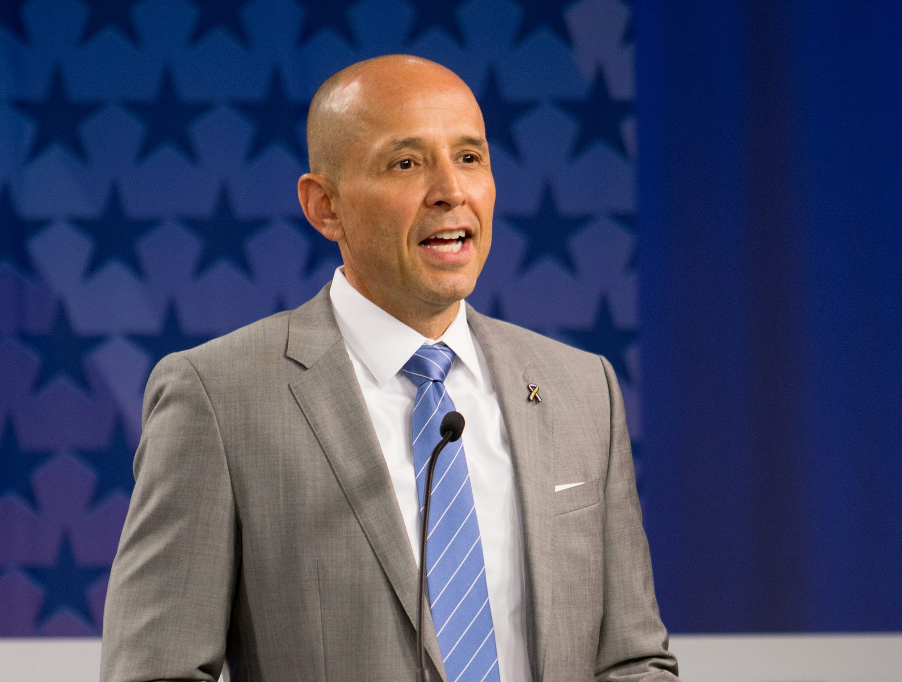 Gubernatorial candidate David Garcia speaks during a debate among Democrats vying to be the next Arizona governor at Arizona State University's Walter Cronkite School of Journalism in Phoenix.