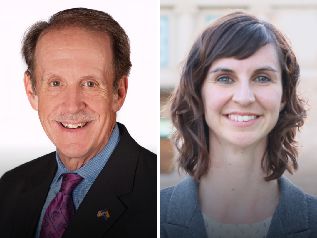 Republican Frank Riggs (left) and Democrat Kathy Hoffman are candidates for Arizona superintendent of public instruction.