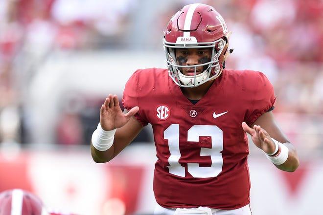 Alabama Crimson Tide quarterback Tua Tagovailoa (13) has a big game to play on Saturday.