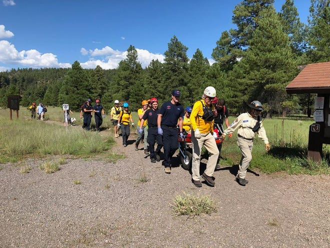 The 12-year-old boy was treated and transported to the Flagstaff Medical Center for his injuries.