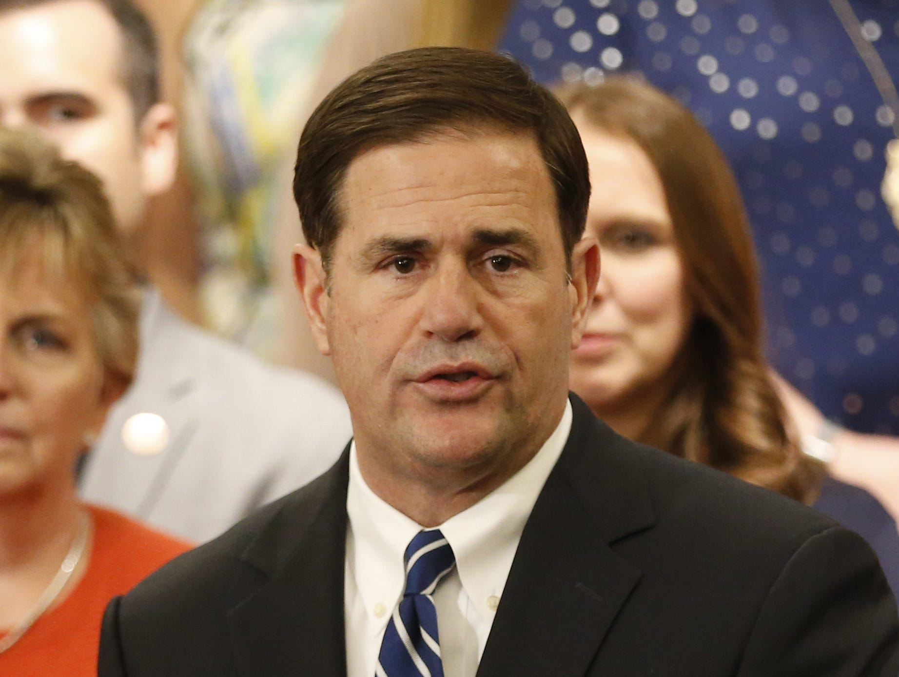 Gov. Doug Ducey announces his plan to raise teachers pay by 20 percent over the next two years at the State Capitol in Phoenix, Ariz. on April 12, 2018.
