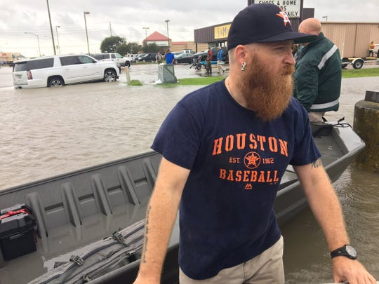 Nick Terrell volunteered to help evacuate buildings and rescue residents in Port Arthur, Texas, Aug. 30, 2017, in the aftermath of Hurricane Harvey.