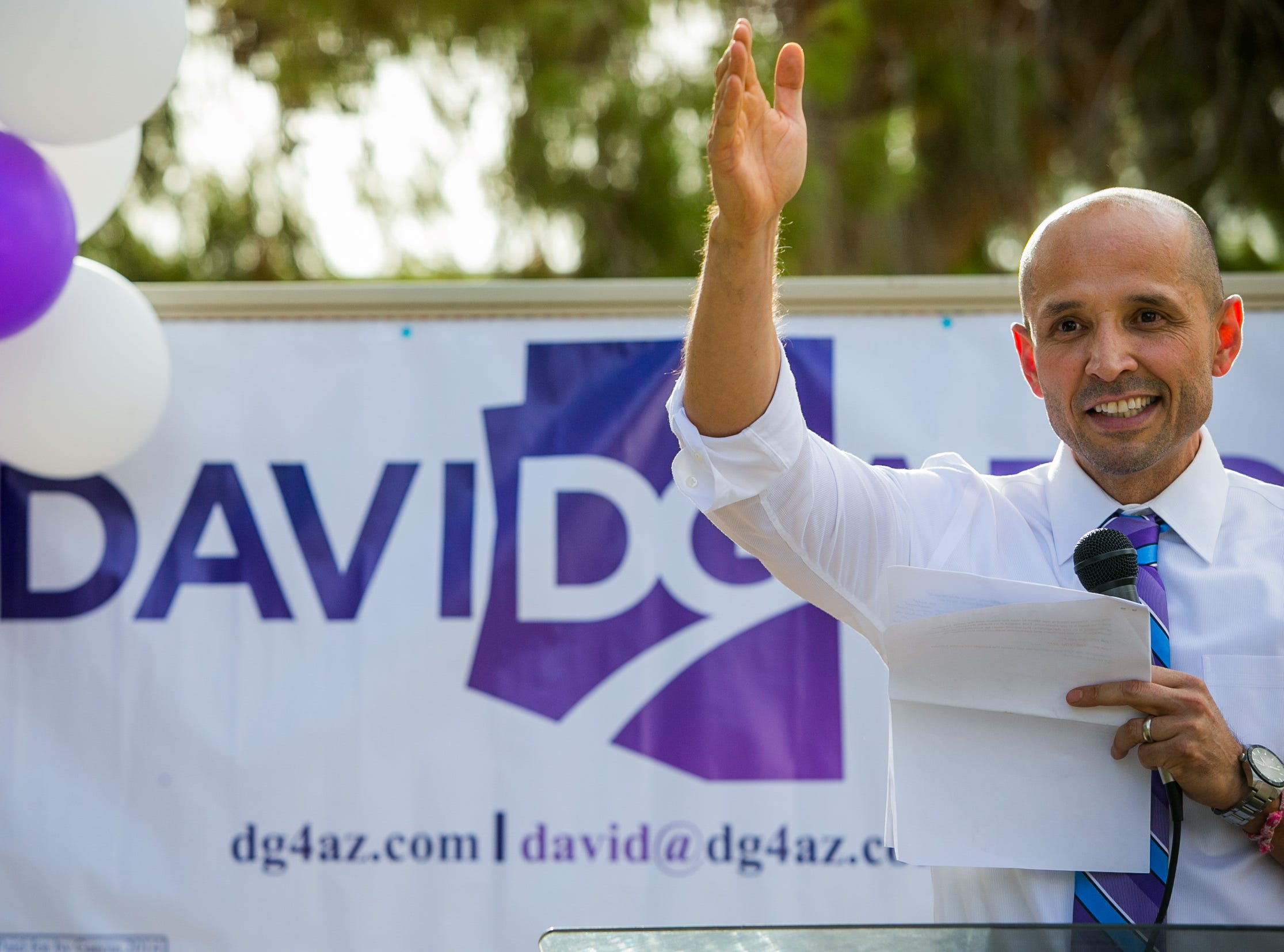 David Garcia in September 2013 when he announced his official campaign for Arizona Superintendent of Public Instruction at Lindbergh Elementary School in Mesa.
