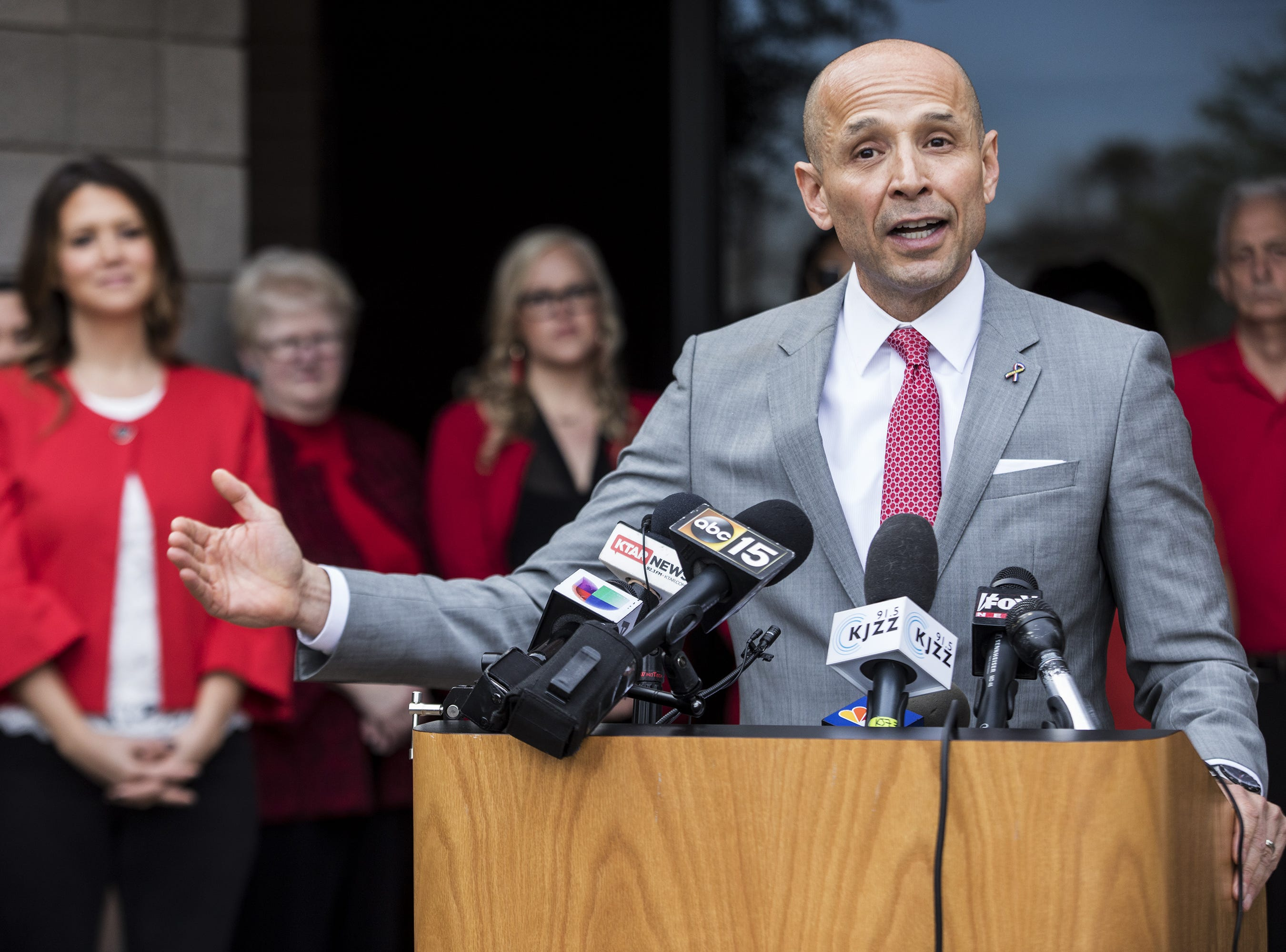 David Garcia speaks during a press conference Mar. 7, 2018, after the Arizona Education Association, endorsed him for governor at the Arizona Education Association on Wednesday, in Phoenix.
