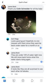 Facebook users in a public scuba diving discussion group talk about items placed in Lake Pleasant.