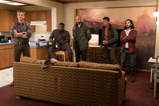 "(L-R) Boyd Holbrook, Trevante Rhodes, Keegan Michael-Key, Thomas Jane and Augusto Aguiliera in Twentieth Century Fox's ""The Predator."""