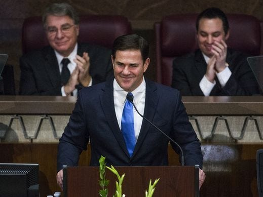 Gov. Doug Ducey delivers his State of the State address Jan. 9, 2017,  in the House of Representatives at the Capitol.