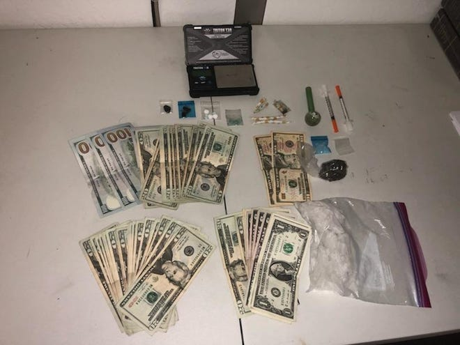 Gila County officials released this photo of the drugs and drug paraphernalia found during Sunday's traffic stop.