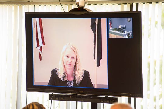 Michigan State Police Forensic Scientist Dianne Bennett testifies via video conference Tuesday, Sept. 11, 2018, during the trial for Theresa Gafken in the St. Clair County Courthouse.