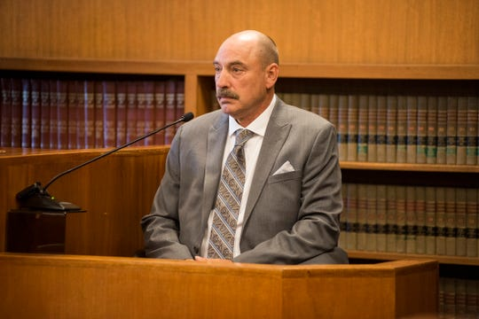 Timothy Fuester, neighbor of Ashly Bauman, testifies in court Tuesday, Sept. 11, 2018, during the preliminary exam of Joshua Michael Bauman in District Judge Cynthia Platzer's courtroom. Fuester was injured in the fatal shooting on Aug. 24.