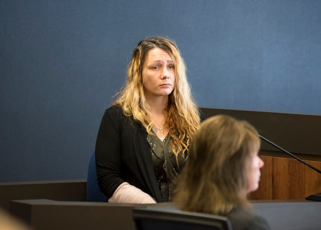Theresa Gafken testifies Tuesday, Sept. 11, 2018, during her trial in Circuit Judge Michael West's courtroom in the St. Clair County Courthouse.