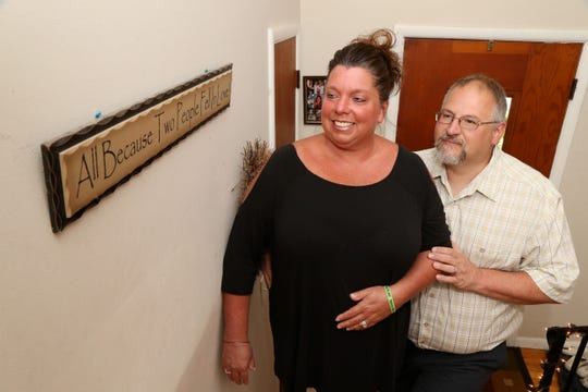 Rob Stubbs and Colleen Edwards at their home in Wappingers Falls on August 29, 2018. The couple first met and dated in high school in the 1980s. After going on with their lives the two reunited in 2007 through Facebook and have been happily married since 2011.