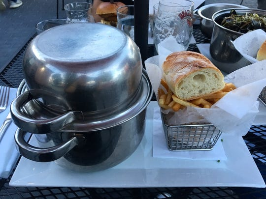 Moules, mussels and fries, is served at the Dutchess Biercafe.