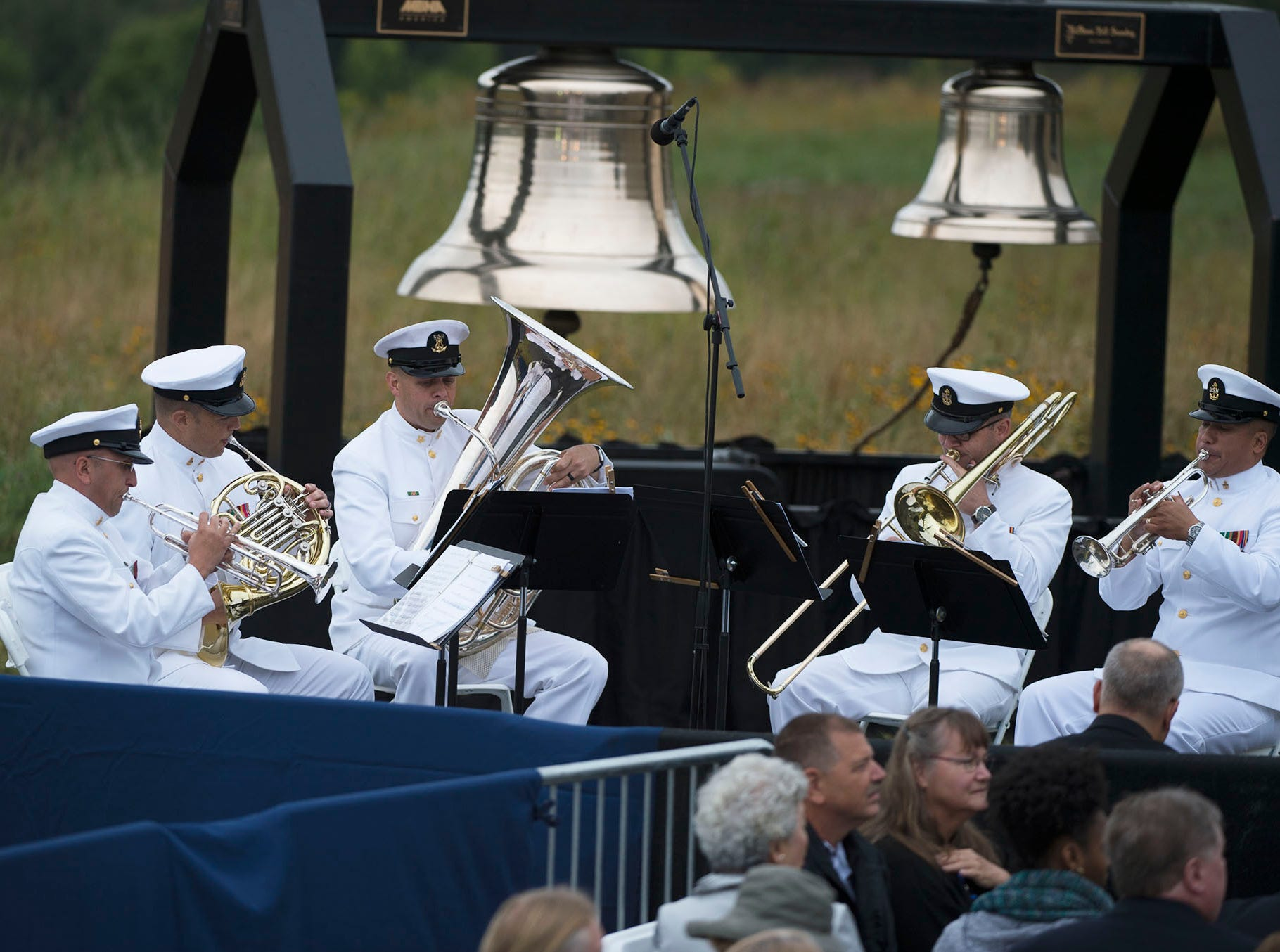 U.S. Navy band performs. The Flight 93 National Memorial's 17th Annual September 11 ceremony is being held at the Memorial Plaza in Shanksville, Pa.