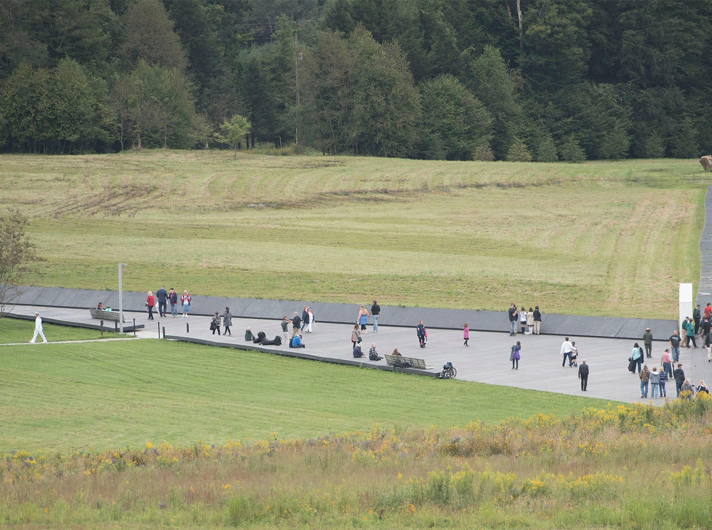 The wall of names an crash site are seen from the overlook area. The Flight 93 National Memorial's 17th Annual September 11 ceremony is being held at the Memorial Plaza in Shanksville, Pa.