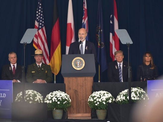 Pa. Gov. Tom Wolf speaks during the ceremony Tuesday, Sept. 11, 2018, marking the 9/11 anniversary at the Flight 93 National Memorial 17th Anniversary in Shanksville.