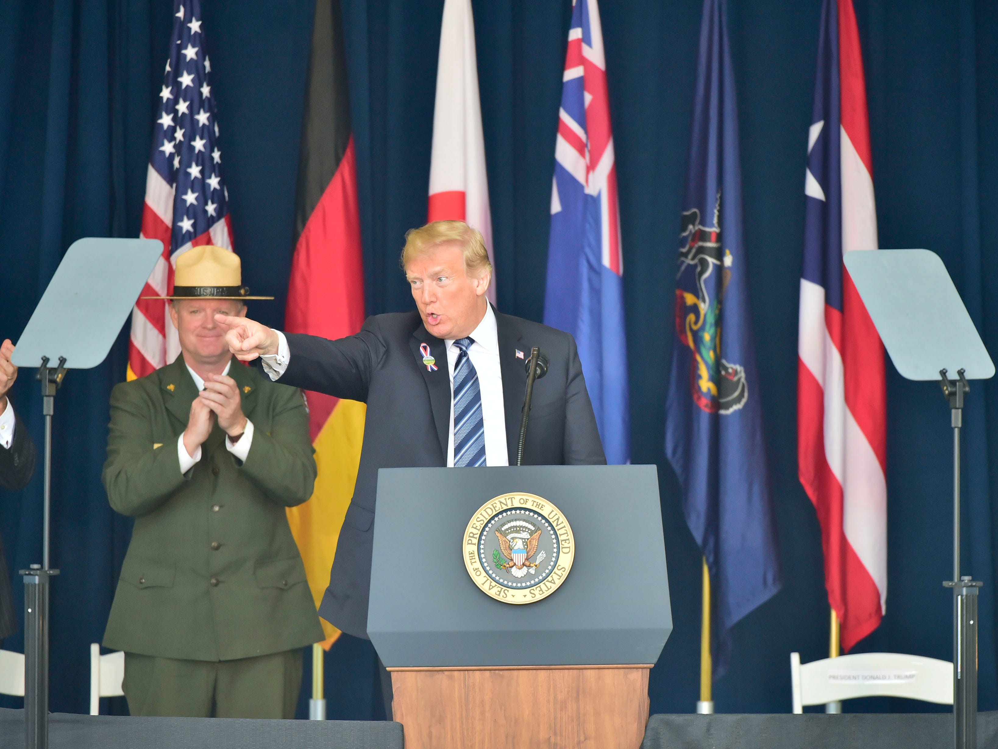 U.S. President Donald Trump speaks to crowd during the 9/11 recognition ceremony. The Flight 93 National Memorial's 17th Annual September 11 ceremony is being held at the Memorial Plaza in Shanksville, Pa.