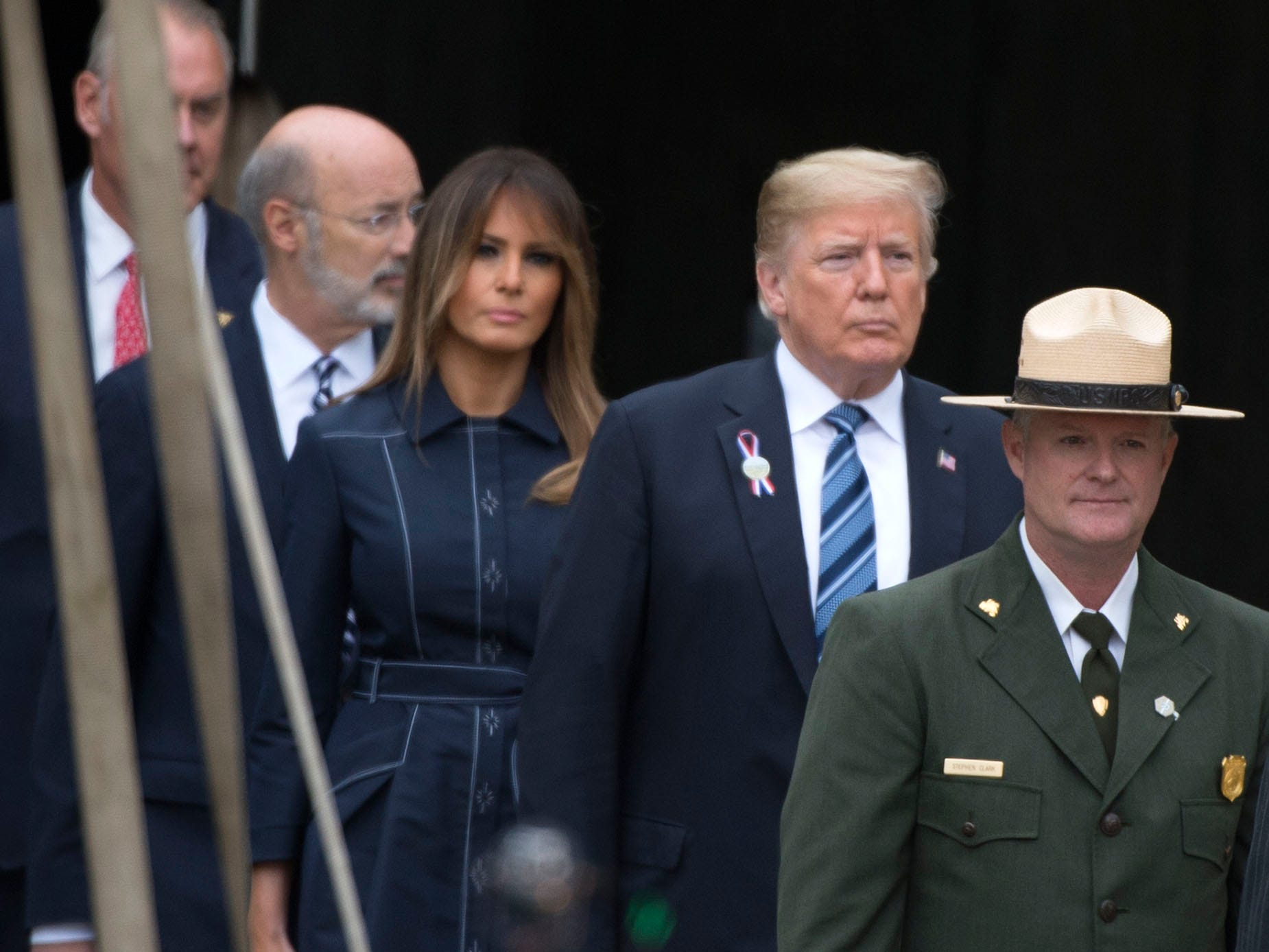 U.S. President Donald Trump and wife, Melania, attend functions during the 9/11 recognitioin ceremony. The Flight 93 National Memorial's 17th Annual September 11 ceremony is being held at the Memorial Plaza in Shanksville, Pa.