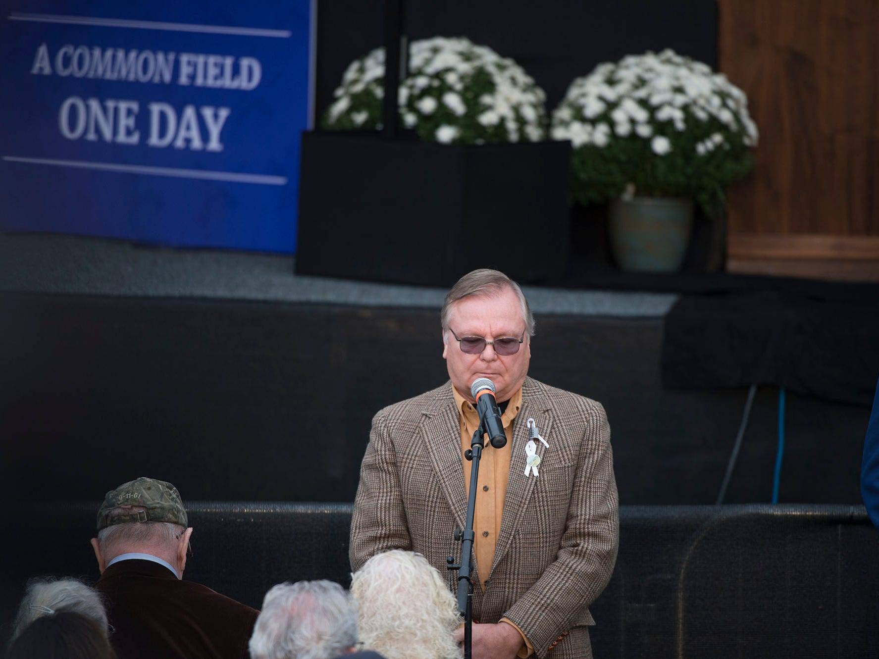 Family members read the names of victims and loved ones. The Flight 93 National Memorial's 17th Annual September 11 ceremony is being held at the Memorial Plaza in Shanksville, Pa.