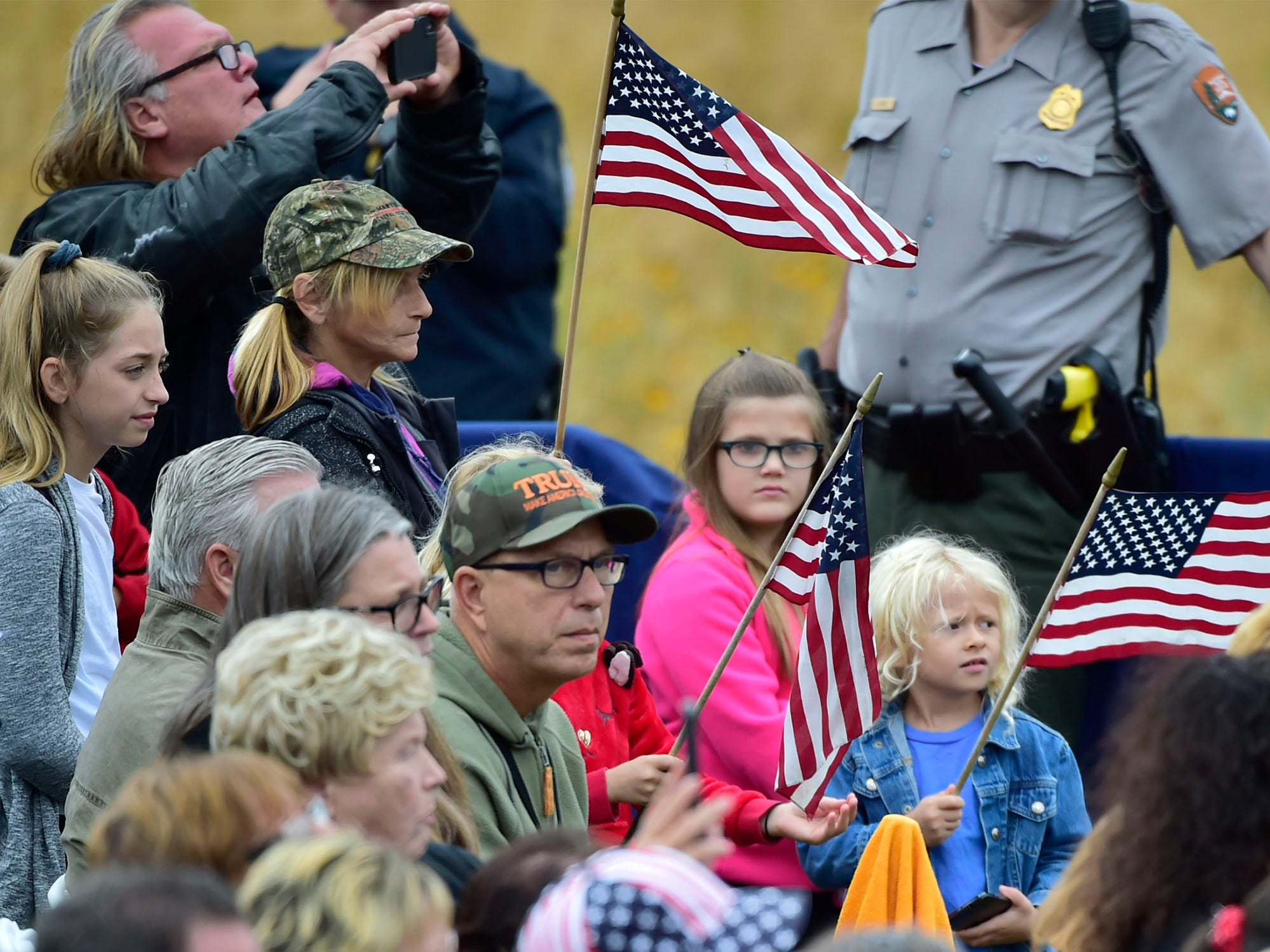 Supporters cheer for President Trump. The Flight 93 National Memorial's 17th Annual September 11 ceremony is being held at the Memorial Plaza in Shanksville, Pa.