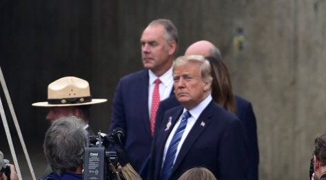 U.S. President Donald Trump prepares to take the stage as keynote speaker at the ceremony  Tuesday, Sept. 11, 2018, marking the Flight 93 National Memorial 17th Anniversary in Shanksville.