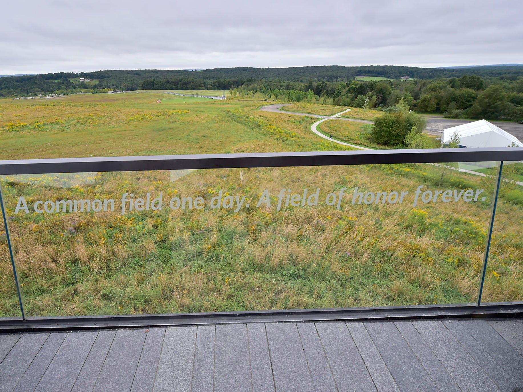 A message is posted at the lookout area. The Flight 93 National Memorial's 17th Annual September 11 ceremony is being held at the Memorial Plaza in Shanksville, Pa.