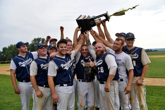 East Prospect wins back to back games to defeat Stoverstown in the best-of-thee York County Baseball Championship, Sunday, August 12, 2018.  John A. Pavoncello photo