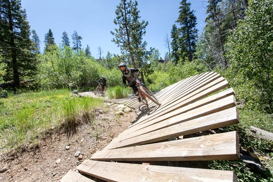 A kid navigates one of the bike trails at Northstar.