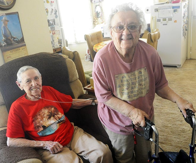 """Lela """"Johnny"""" Eye (left) and Elizabeth """"Betty"""" Wolford have lived together for 55 years. The pair pooled resources to raise their kids after they were widowed."""