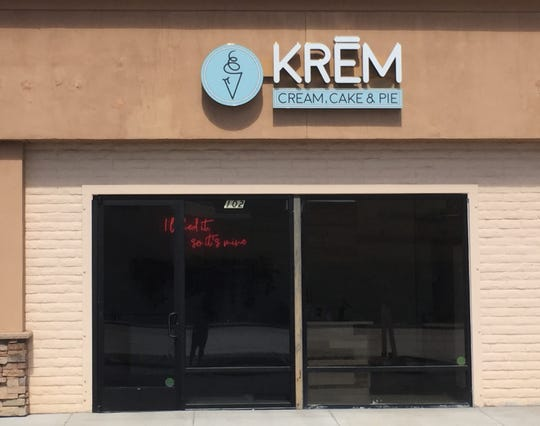 Krem offers DIY cones layering soft-serve, cake and sauce.