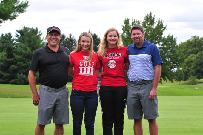 Richmond High School seniors Karissa Owens (second from left) and Jacey Cornett (third from left) led the Red Devils to an undefeated dual-match season. Karissa's father, Jesse Owens (left) started Richmond's Intermediate golf program, and Jacey's father, J. J. Cornett (right) was a member of Richmond's golf state title in 1993.