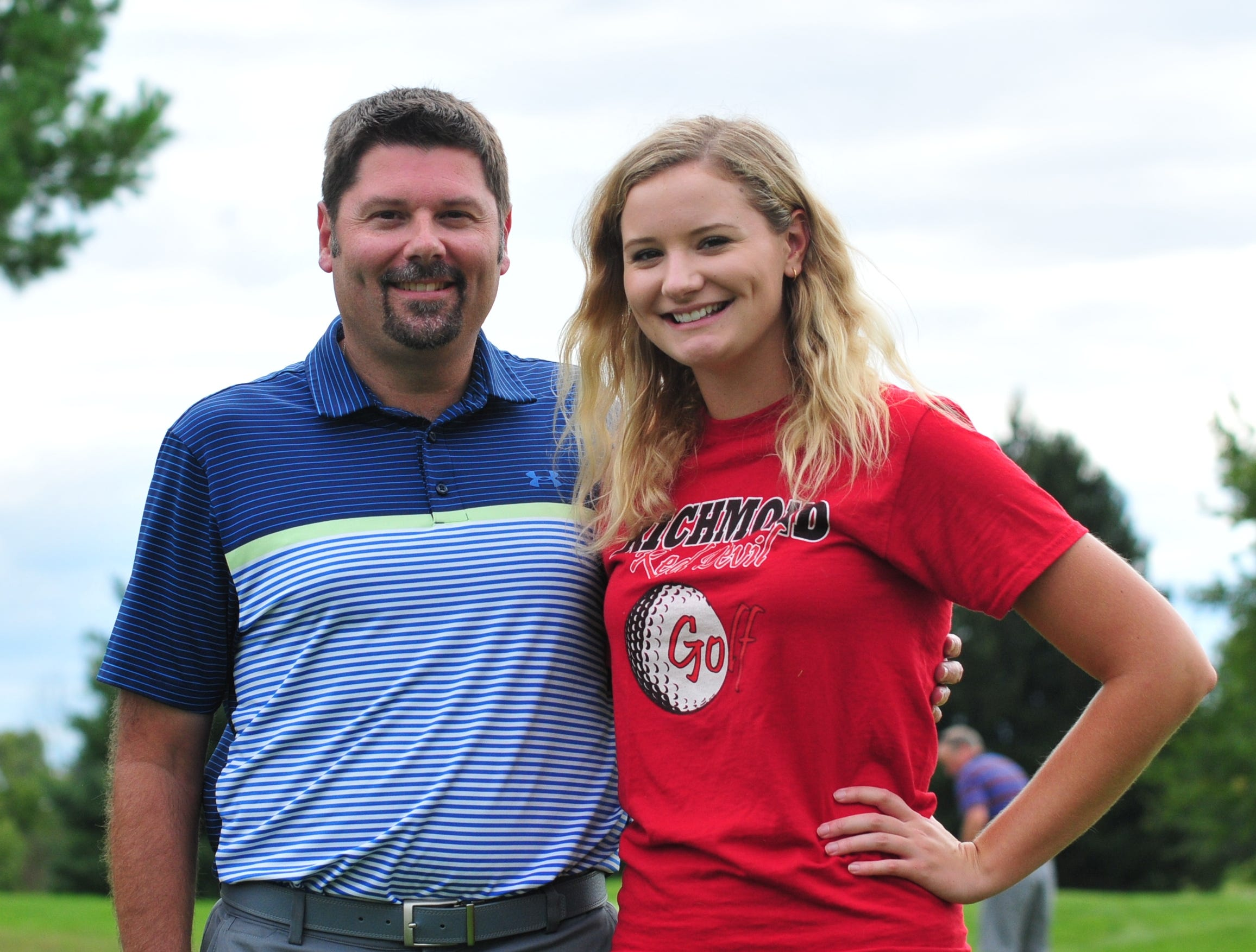 J. J. Cornett, left, was a member of Richmond High School's 1993 boys golf team. His daughter Jacey, right, is currently a senior at Richmond, aiming to lead the Red Devils back to state.