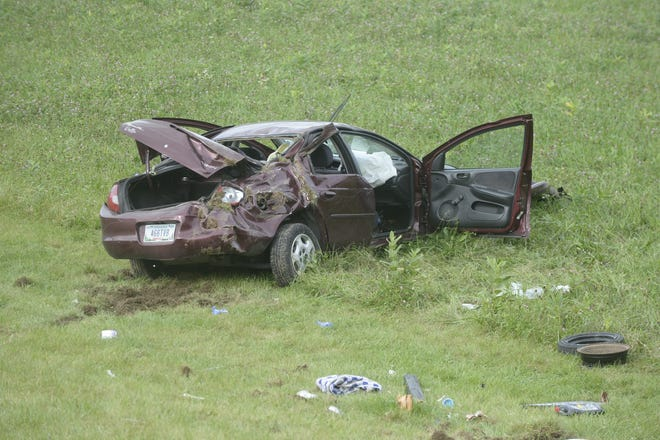 A car driving north on U.S. 27 south of Richmond hit three trees along the east side of the road, went airborne down an embankment and rolled to a stop on Tuesday, Sept. 11, 2018.