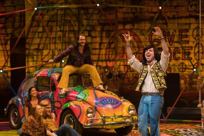 Joe Chisholm as Berger and Joshua Carey as Woof in Geva's production of Hair.