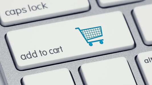 Add To Cart Keyboard Button With Blue Shopping Cart
