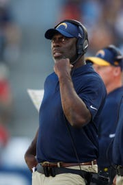 Los Angeles Chargers head coach Anthony Lynn watches from the sideline during an NFL football game against the Los Angeles Chargers Sunday, Sept. 9, 2018, in Carson, Calif. Lynn was Bills running backs coach and assistant head coach under Rex Ryan when Bills led the NFL in rushing twice.