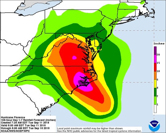 Potential rainfall from Florence through next Tuesday morning